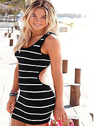 Women's Beach Holiday Bodycon Dress,Striped Round Neck Mini Sleeveless Cotton Summer High Rise Stretchy Thin