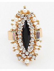 Euramerican Fashion Temperament  Exquisite Luxury Pearl Rhinestone Rings Women'sParty Adjustable  Rings Jewelry Gifts