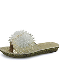 Women's Slippers & Flip-Flops Summer Slingback Leatherette Outdoor Party & Evening Dress Flat Heel Rhinestone Silver Gold Walking