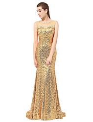 Formal Evening Dress Sheath / Column Bateau Floor-length / Chapel Train with