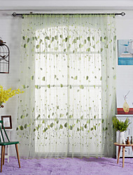 One Panel Curtain Country Leaves Sheer Curtains Shades Home Decoration For Window W100cm*L270cm