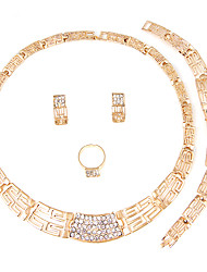 Jewelry Set Necklace Bridal Jewelry Sets Rhinestone Euramerican Fashion Simple Style Classic Rhinestone Zinc Alloy Square Gold1 Necklace