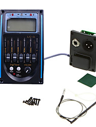 Professional Acoustic Guitar Bass Preamp 1SET LCD 5-Band Acoustic Guitar Preamp EQ LC-5 Equalizer Tuner Piezo Pickup Black with Blue