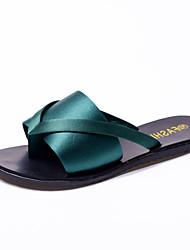 Для женщин Тапочки и Шлепанцы Удобная обувь клуб Обувь Дерматин Весна Лето Для праздника Повседневный На плоской подошвеЧерный