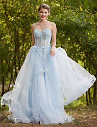 2017 Formal Evening Dress - See Through A-line Sweetheart Sweep / Brush Train Tulle with Appliques Beading Lace