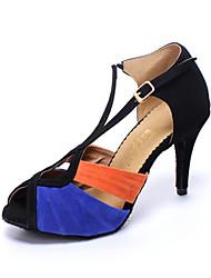 Sapatos de Dança(Black / azul) -Feminino-Personalizável-Latina