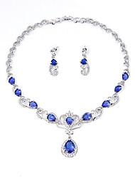 Plated Red Zircon NecklaceEarrings African Wedding Bridal Party Jewelry Sets NecklaceEarrings