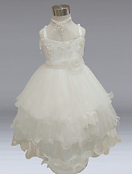 Ball Gown Knee-length Flower Girl Dress - Polyester Satin Tulle Spaghetti Straps with Bow(s) Flower(s) Pearl Detailing Sash / Ribbon