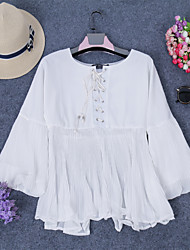 Women's Going out Casual/Daily Beach Sexy Cute Spring Chiffon Blouse Shirt Women Casual pleated Ruffled Shirt Tops O Neck White Blouse Blusas Summer