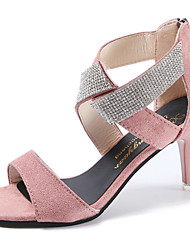 Women's Sandals Club Shoes Fleece PU Spring Summer Casual Dress Club Shoes Rhinestone Buckle Stiletto Heel Black Blushing Pink 3in-3 3/4in