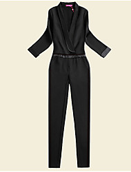 Women's High Rise Micro-elastic Business Pants,Simple Loose Solid