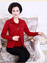 Women's Casual/Daily Vintage Blouse Skirt Suits,Solid Deep V Long Sleeve Pleated strenchy