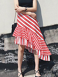 Women's High Rise Going out Casual/Daily Holiday Asymmetrical Skirts A Line Striped Summer