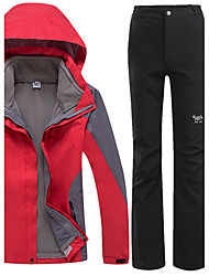 Women's 3-in-1 Jackets Waterproof Thermal / Warm Windproof Fleece Lining Rain-Proof Wearable Breathable Protective Snowproof Detachable