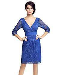 Gaine / colonne mère de la robe de mariée longueur genou longueur 3/4 longueur tulle en dentelle avec drap de dentelle