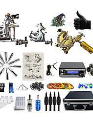 Kit completo per tatuaggi 2 x macchina in acciaio per linee e ombre 1 x tatuaggio macchina in lega per il rivestimento e l'ombreggiatura 3