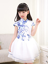 Girl's Fashion And Lovely Tangzhuang Qipao Bitter Fleabane Bitter Fleabane Gauze Skirt Restoring Ancient Ways Is The Princess Dress