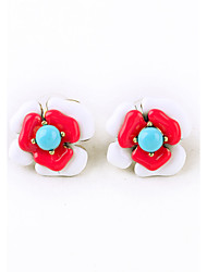 Stud Earrings Euramerican Personalized Chrome Flower carmine Jewelry For Housewarming Thank You Business 1 pair