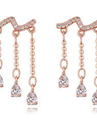 Drop Earrings AAA Cubic Zirconia Dangling Style Bikini Fashion Luxury Statement Jewelry Sterling Silver Cubic Zirconia Copper Gold Plated