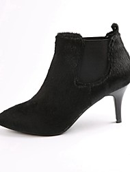 Women's Boots Slingback PU Fall Winter Casual Chunky Heel Black 1in-1 3/4in
