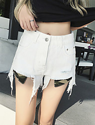 Women's High Waist Micro-elastic Jeans Shorts Pants Street chic Wide Leg Holes /Tassel Solid