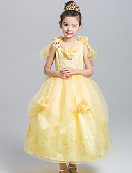 Ball Gown Tea-length Flower Girl Dress - Satin Tulle V-neck with Flower(s) Pattern / Print
