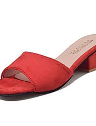 Women's Sandals Comfort PU Summer Outdoor Walking Comfort Block Heel Black Ruby Khaki Under 1in