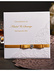 50 Gold Ribbon Handmade Wedding Invitations Personalized Wedding Cards With Photo & Rhinestone Buckle NK301
