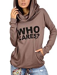 Damen Buchstabe Einfach Street Schick Aktiv Ausgehen Lässig/Alltäglich Sport T-shirt,Mit Kapuze Frühling Herbst Langarm Polyester Mittel