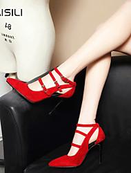 Calcanhares femininos primavera conforto PU casual vermelho