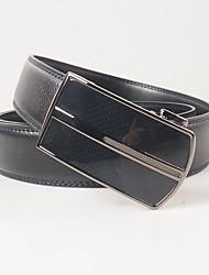 Men's casual fashion black leather belt buckle gun color automatic agio automatically