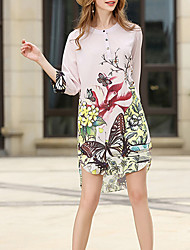 Women's Casual/Daily Simple Loose Dress,Print Round Neck Above Knee ¾ Sleeve Polyester Summer Mid Rise Inelastic Thin