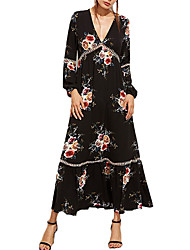 Women's Casual/Daily Work Simple Loose Dress,Solid Print V Neck Maxi Long Sleeve Polyester All Seasons Low Rise Micro-elastic Medium