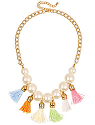 Bohemian White Imitation Pearls with Colorful Tassels Necklace