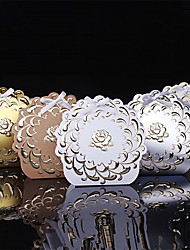 25pcs foil golden Flower Wedding Favors Box Kraft Candy Box Gift Box Chocolate box Wedding Decoration Supplies