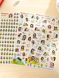 Long Hair Girl Pattern Stickers 1 Set