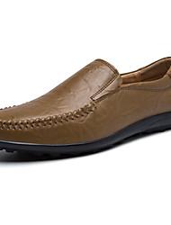 Loafers masculinos&Slip-ons sol de verão conforto luz solas PU escritório&Partido carreira&Noite casualkhaki marrom escuro