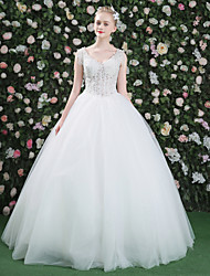 Princess V-neck Floor Length Lace Tulle Wedding Dress with Beading Sequin Lace
