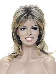Mujer Pelucas sintéticas Sin Tapa Medio Ondulado Natural Rubio Raíces oscuras Entradas Naturales Corte a capas Peluca natural Peluca de