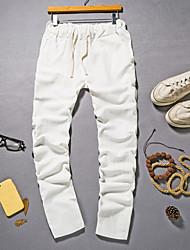 Hombre Tiro Medio Inelástica Chinos Pantalones de Deporte Pantalones,Corte Ancho Un Color