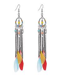 2017 Summer Popular Fashion Bohemia Beads Feather Earrings Long Tassel Pendant Earrings For Women Jewelry Accessories