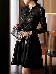 Women's Holiday A Line Dress,Polka Dot Off Shoulder Maxi Long Sleeve Polyester All Seasons Low Rise Inelastic Medium