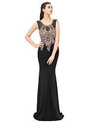 Mermaid / Trumpet Jewel Neck Floor Length Lace Formal Evening Dress with Appliques by Sarahbridal