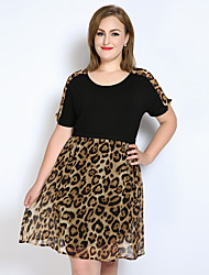 Really Love Women's Casual/Daily Party Holiday Sexy Vintage Cute A Line Loose Chiffon Dress,Leopard Color Block Patchwork Round Neck Knee-lengthShort