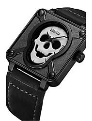 Men's Fashion Watch Unique Creative Watch Wrist watch Quartz Leather Band Skull Black Brown