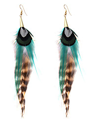 lureme® Drop Earrings Jewelry Tassels Movie Jewelry Hip-Hop Luxury Multi-ways Wear Africa Feather Alloy Geometric Jewelry ForSpecial Occasion