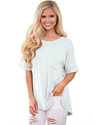 Tee-shirt Femme,Couleur Pleine Plage Vacances simple Eté ½ Manches Col Arrondi Polyester Spandex