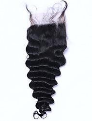 12inch braizlian meilleurs noeuds blanchies de fermeture de dentelle vierge lâche de brazilian fermeture vague Fermetures sans / milieu /