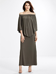 Women's Off The Shoulder Plus Size / Casual/Daily Solid / Simple Sheath DressSolid Pleated Cloak Sexy Boat Neck Maxi Long Sleeve