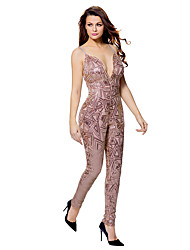 Women's High Rise Jumpsuits,Sexy Slim Sequins Print